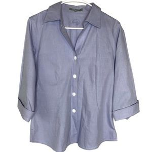 Foxcroft Non Iron Fitted Button Up Light Blue Top